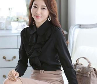 女式衬衫长袖新款雪纺